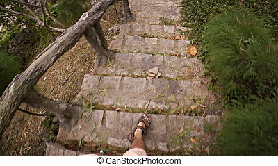 Man's Legs and Feet Descending an Outdoor, Stone Walkway -...