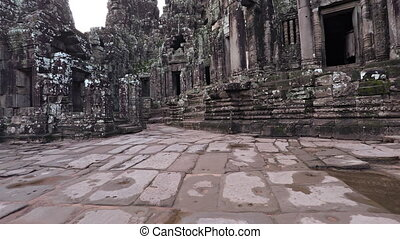 Ancient Courtyard and Buildings of Bayon Temple Ruin in...