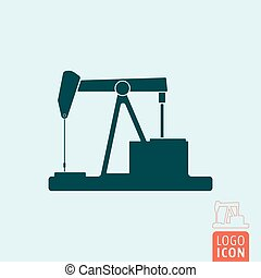 Pumpjack icon isolated - Pumpjack icon. Retro oil pump...