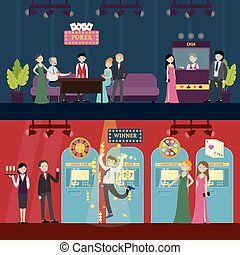 People In Casino Horizontal Banners