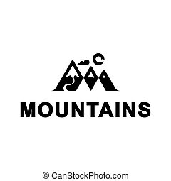 Vector mountains with sun and cloud. Mountains with river illustration. Logo template
