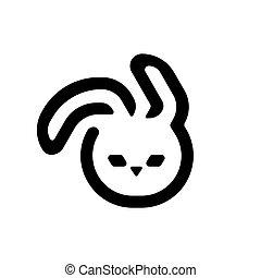 Black easter bunny isolated on white background. Rabbit illustration.