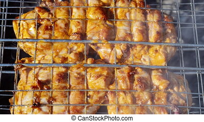 Chicken meat on barbeque grill. Dolly shot - Chicken meat on...