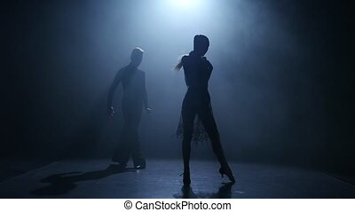 Smoke background. Dance element from the jive, silhouette...