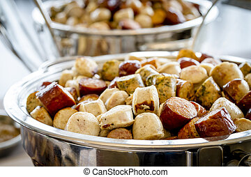Assorted sausage party bites - Assorted sausage types cut...