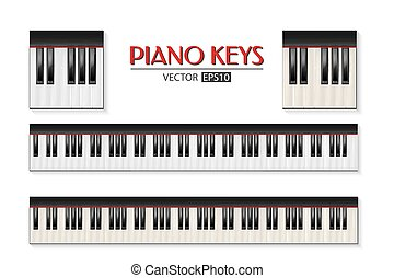 Vector photorealistic piano keyboard icon set isolated on white background. Design template in EPS10.