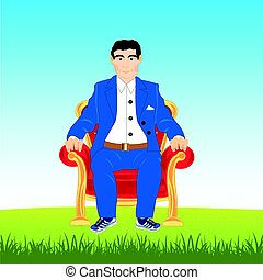 Man in easy chair on glade - Man in suit sits in easy chair...