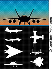 Silhouettes of different types of military aircraft on black background - Vector image