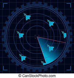 Blue radar screen detecting a group of military aircraft flying in formation - Vector image