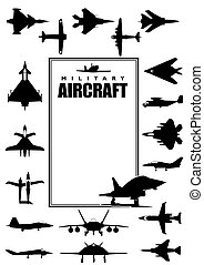 Book cover with silhouettes of different types of military aircraft on white background. Size A4 - Vector image