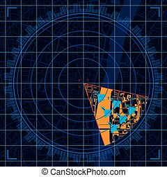 Blue radar screen detecting a group of military aircraft flying in formation over a city - Vector image