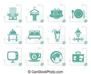 Stylized Hotel, motel and holidays icons