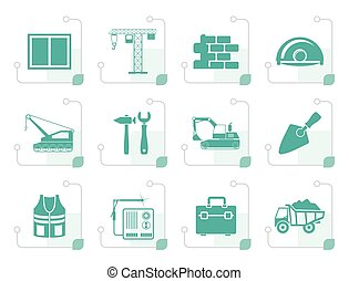 Stylized building and construction icons - vector icon set