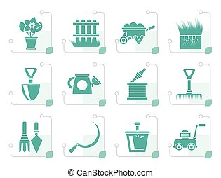 Stylized Garden and gardening tools icons