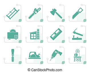 Stylized Woodworking industry and Woodworking tools icons