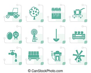 Stylized farming industry and farming tools icons