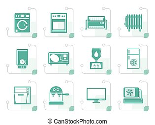Stylized Home electronics and equipment icons - vector icon...