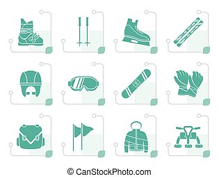 Stylized ski and snowboard equipment icons