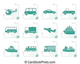 Stylized Travel and transportation icons - vector icon set