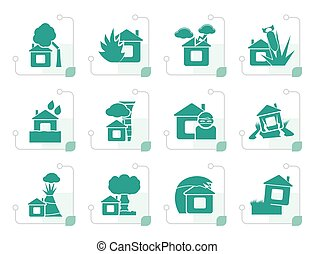 Stylized home and house insurance and risk icons - vector...