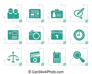 Stylized web site, computer and business icons - vector icon...