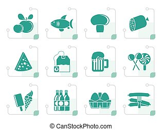Stylized food, drink and shop icons - vector icon set