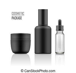 Jar, serum, essence in vial - Set of realistic black package...