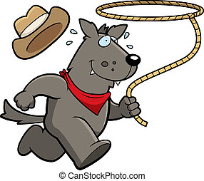 Wolf Rodeo - A happy cartoon rodeo wolf running with a...
