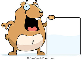 Hamster Sign - A happy cartoon hamster standing next to a...