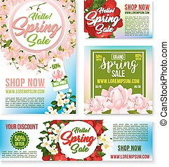 Sale vector tags, banners posters spring discount
