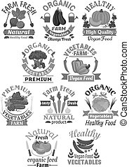 Vector icons of farm fresh organic vegetables - Vegetables...