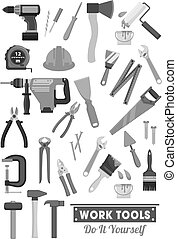 Repair and construction work tools vector icons - Work tools...