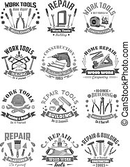 Building and construction work tools vector icons - Work...