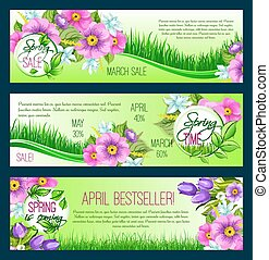 Sale vector floral banners for spring shopping