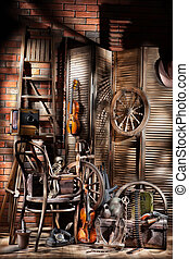 Still Life With Old Spinning Wheel, Violins And Ladder -...