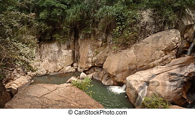 Overlooking View of Ban Ho Waterfall in Vietnam, with Sound...