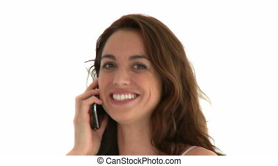 Captivating woman on phone