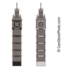 Big Ben vector contur. England or London icon set.