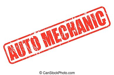 AUTO MECHANIC red stamp text on white