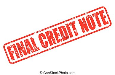 FINAL CREDIT NOTE red stamp text on white