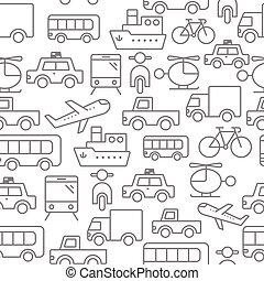 Line icons seamless pattern, Transport