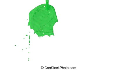Flow of green paint splattering on white background and dripping down over white. 3d render with alpha mask for background, transition or overlays. Version 11