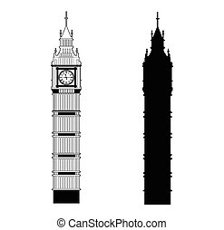 Big Ben vector contur and silhouette. England or London icon...
