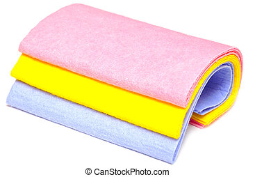 colored rags - pile of various multicolor microfibre cloths...