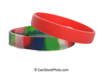 Charity wristbands cutout - Two Charity wristbands studio...