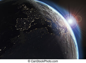 Earth view with day and night effects