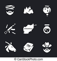 Vector Set of Afghanistan Crime Icons. - Pakistani,...