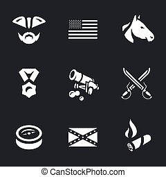 Vector Set of Civil War USA Icons. - Soldier, flags, horse,...
