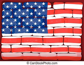 America flag on brickwall