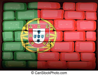 Portugal flag on brickwall illustration